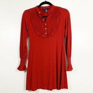 Ralph Lauren Red Long Ruffled Sleeve Knit Dress M